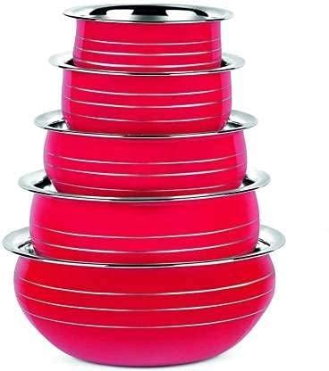 Nirvika steel handi set Stainless Colourful serving bowl Cookware Set/biryani milk pot pan/Utensils/cooking kitchen home appliances Set of 5 Piece Black Color (5 Pieces, 350 ML, 550 ML, 750 ML, 1200 ML, 1650 ML)