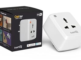 Oakter Wi-Fi Smart Plug 10A Suitable for Small appliances Like TVs, Electric Kettle, Mobile and Laptop Chargers with Universal Pin Support, Works with Alexa and Google Assistant